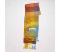 Yellow/powder blue/brown Large check scarf