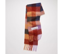 Brown/lilac/navy Large check scarf