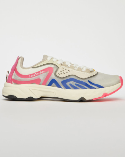 White/blue/pink Ripstop technical trainers