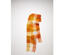 Orange/white/ochre Large check scarf