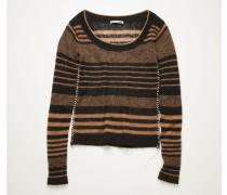 Black/camel Scoop-neck striped sweater