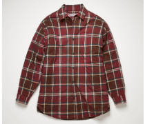 Burgundy/beige Checked quilted overshirt
