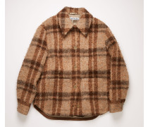 Pale orange/brown Checked overshirt