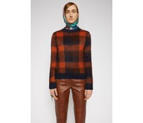 Navy/orange Checked alpaca-blend crewneck sweater