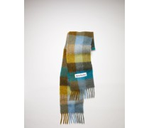 Olive green/turquoise blue/grey Large check scarf