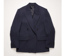 Navy/black Double-breasted twill jacket