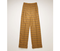 Yellow/beige Wide-leg checked trousers