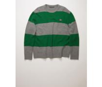 Meliertes Grau/Dunkelgrün Pullover mit Blockstreifen