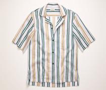 Grün/Zartlila Gestreiftes Hemd aus Baumwoll-Mix