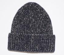 Marineblau/Grau Rippstrick-Beanie