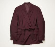 Aubergine/black Double-breasted belted jacket