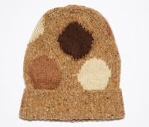 Braun/Multi Gepunktete Beanie aus Wolle