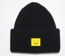 Schwarz/Gelb Beanie mit Face-Logo