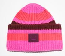 Pink/burgundy Striped beanie hat