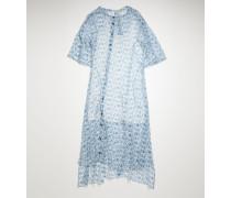 Blau/Weiß Chiffonkleid mit floralem Print