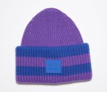 Violett/Blau Gestreifte Beanie mit Logo