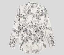 Hemdbluse aus Baumwolle mit Printmotiv Blattwerk und Schmetterlinge