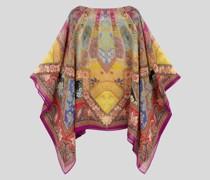 Poncho aus Seide mit Floralen Paisley-Prints