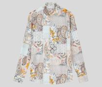 Baumwollhemd mit Patchwork-Print