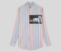 Gestreiftes Hemd mit Digital-Print