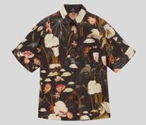 Kurzarm-Hemdbluse mit Tigern und Seerosen