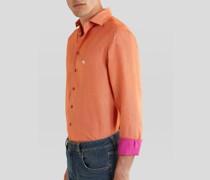 Leinenhemd mit Aufgesticktem Pegaso