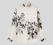 Hemdbluse aus Seide mit Floralem Print