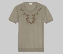 Besticktes T-Shirt aus Wolle und Seide
