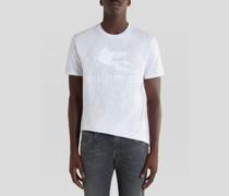 T-Shirt aus Baumwolle mit Paisley-Stickereien und Pegaso