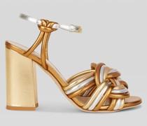 Sandalen aus Kaschiertem Leder mit Flechtarbeit