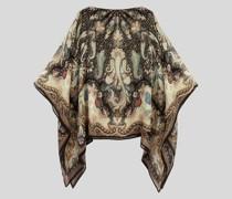 Poncho aus Seide mit Paisley-Print