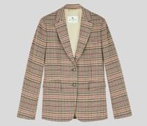 Glencheck-Blazer aus Baumwolle und Wolle