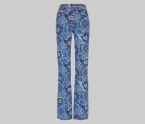 Ausgestellte Jeans mit Paisley-Motiven