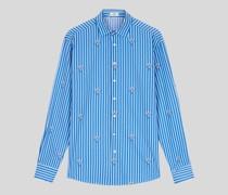 Baumwollhemd mit Streifen und Aufgedruckten Details