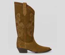 Stiefel aus Veloursleder mit Paisley-Stickereien