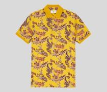 Baumwoll-Poloshirt mit Floralem Print
