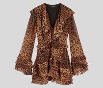 Kurzes Kleid aus Crepon mit Animalier-Muster