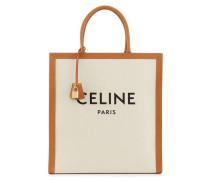 Vertikales Modell der Einkaufstasche Celine aus Leinen und Kalbsleder
