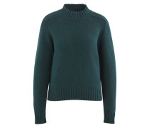 Shetland wool jumper with stand-up collar