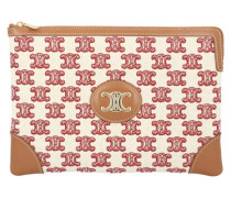 Kleine Clutch Aus Textil Mit Triomphe-Stickerei