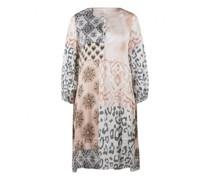 Fließendes Kleid mit Muster-Mix