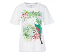 T-Shirt mit Print und Perlenbesatz