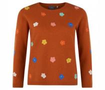 Strickpullover aus reinem Cashmere mit Blumenstickerei