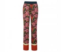 Weite-Hosen mit all-over Blumen-Print