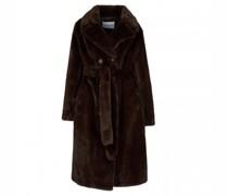 Mantel in Teddyfell-Optik mit Gürtel