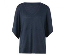 Oversized T-Shirt mit V-Ausschnitt aus Leinen