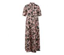 Langes Hemdblusenkleid mit floralem Muster