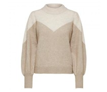 Pullover mit Ballonärmel und Colourblock Muster