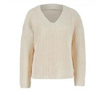Grobstrick-Pullover mit V-Ausschnitt