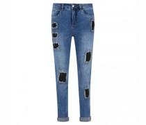Cropped Jeans in destroyed Optik mit Glitzerdetails